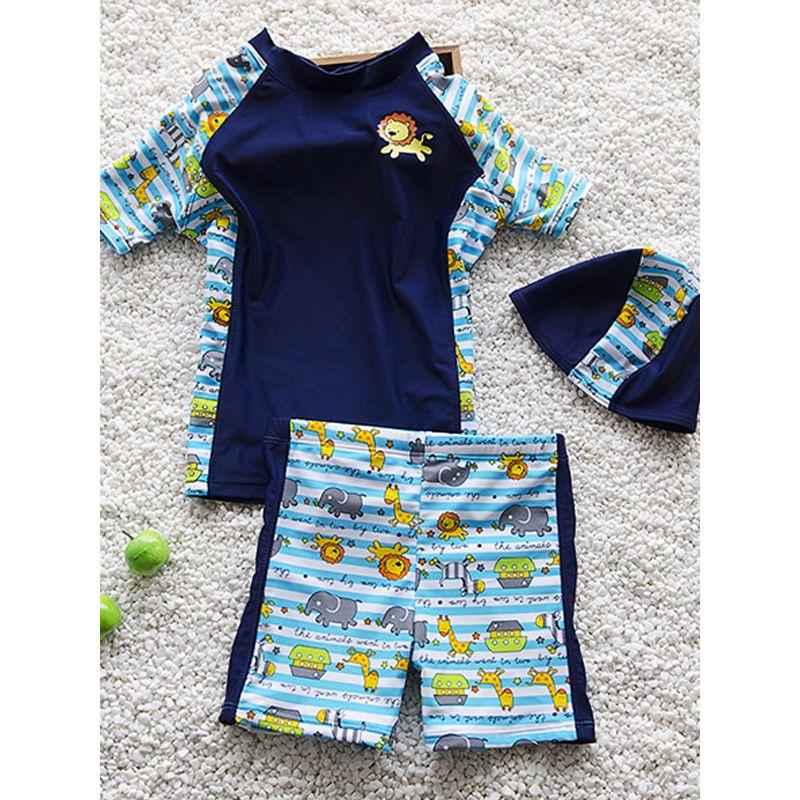 2-piece Animal Print Swimwear Set Short-sleeve Top Shorts for Toddlers Boys