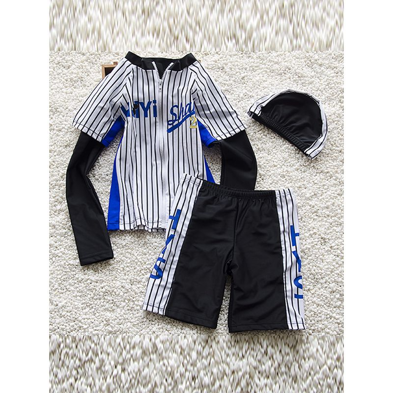 2-piece Striped Sports Style Swimwear Set Long-sleeve Zip-up Top Shorts for Big Boys