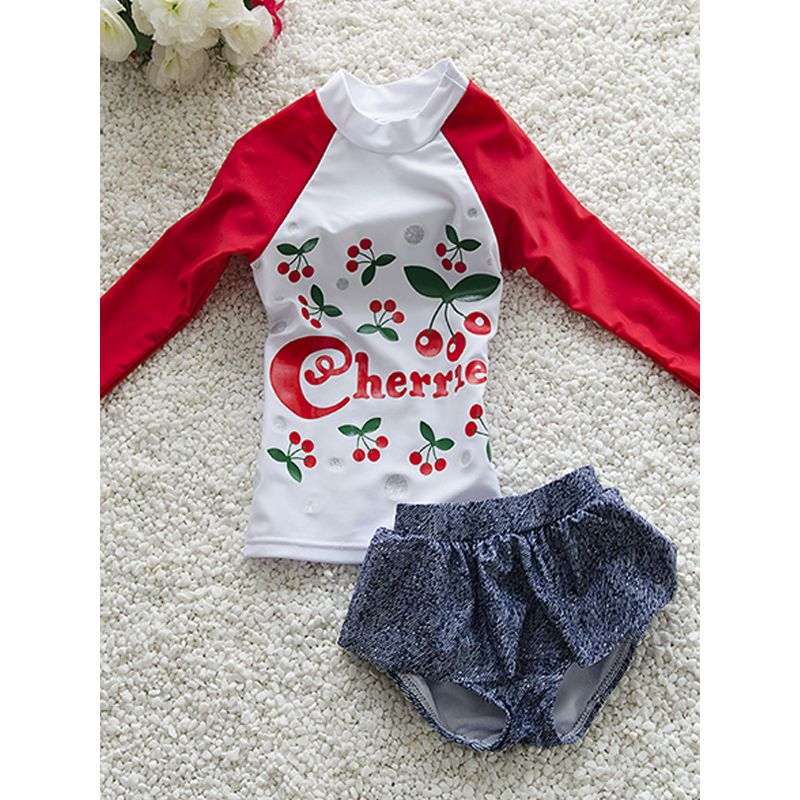 2-piece Floral Print Swimwear Shorts Set Long-sleeve Top for Toddlers Girls