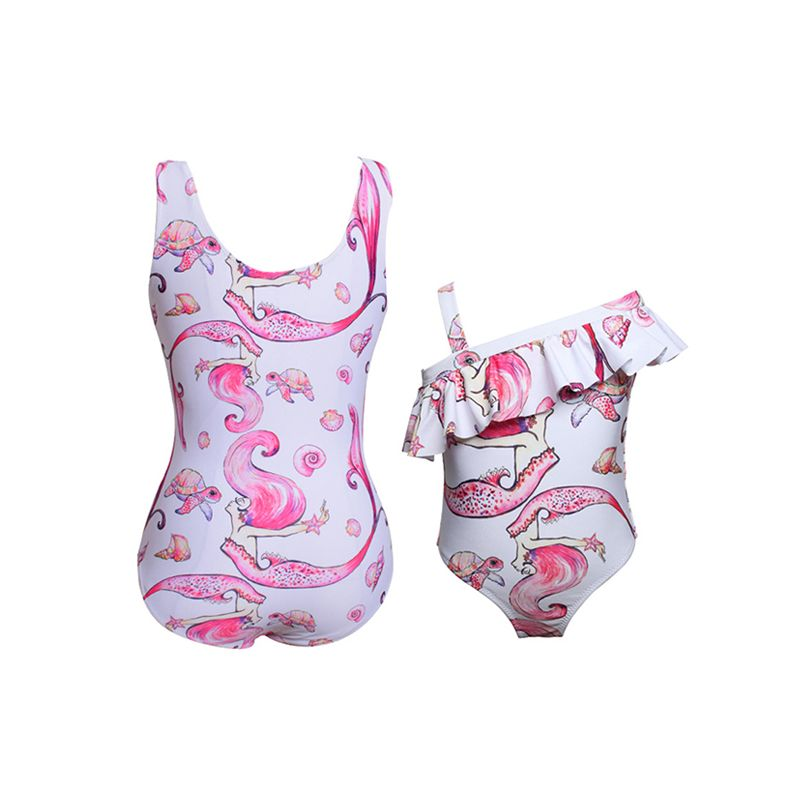 Mommy and Me Mermaid Print Elastic Swimwear Strapped
