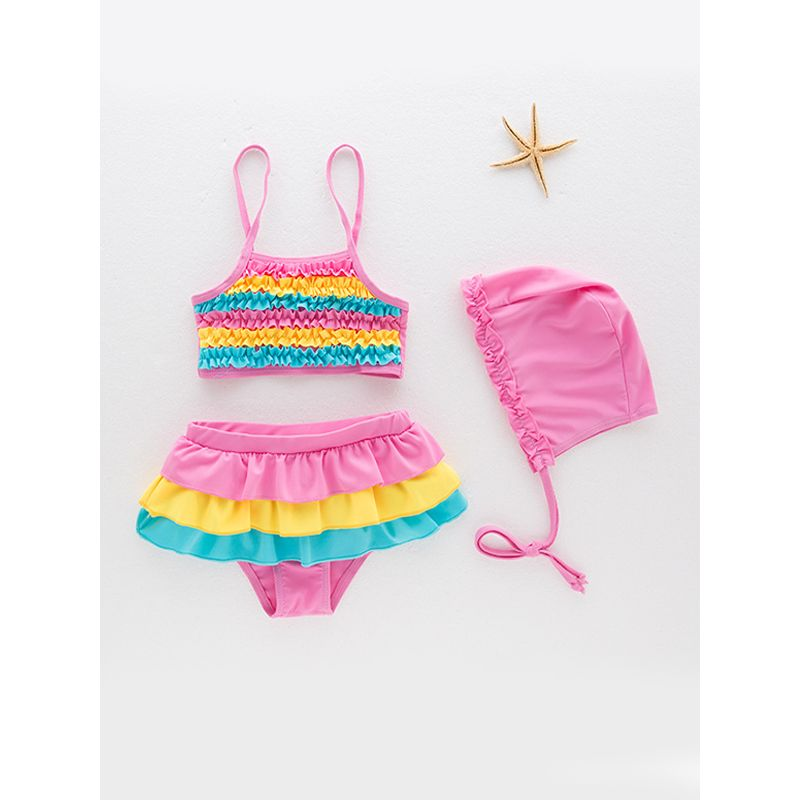 3-piece Rainbow Color Pattern Swimwear Set Strapped Elastic Top Shorts Cap for Toddlers Girls