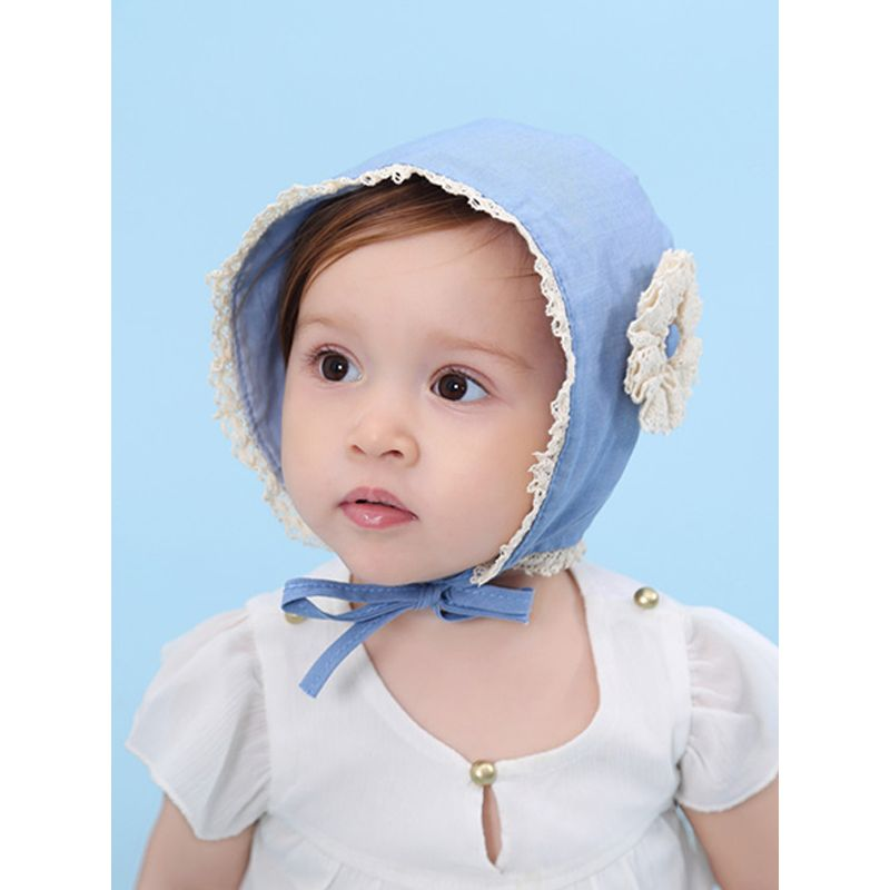 Cute Denim Blue Lace-trimmed Summer Cap Baby Girls Princess Flower Sunhat