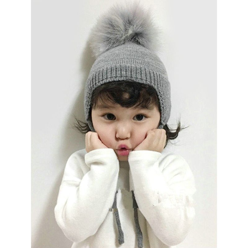 Cute Fuzzy Ball Knitting Wool Hat For Babies Toddlers
