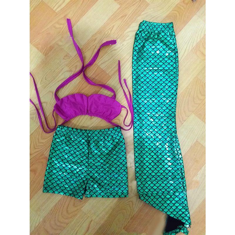 Fish Scale  Shell Pattern Bikini Swimwear Set Mermaid Top Shorts for Girls