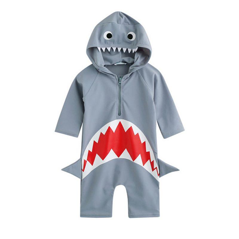Short-bottom Shark Pattern Diving Suit Hooded Swimwear Zip-up for Toddlers Boys Girls