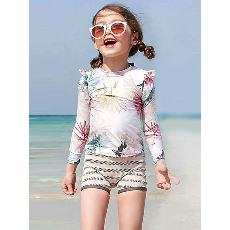 Floral Swimwear Top Shorts Set Beach Pool Wear Long-sleeve for Girls