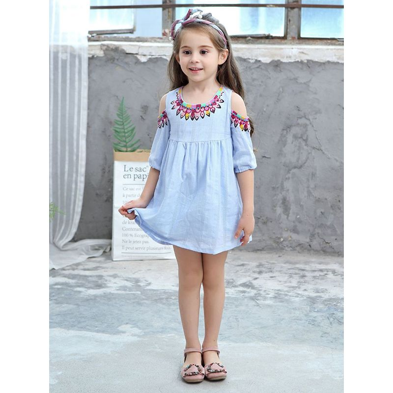 Cute Jacquard Pleated Cotton Dress for Toddlers Girls