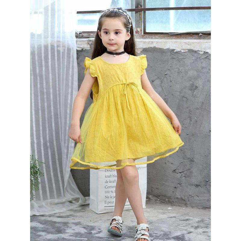Yellow Jacquard Breathable Layered Tulle Princess Cotton Dress Sleeveless