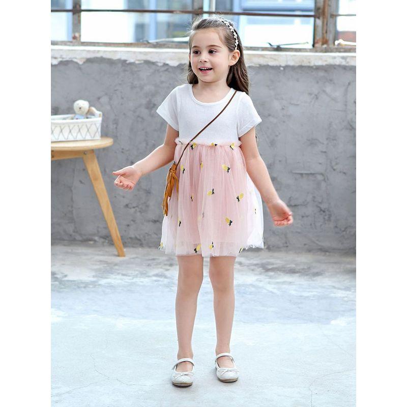 Cute Paneled Jacquard Breathable Pineapple Print Layered Tulle Princess Cotton Dress Short-Sleeve