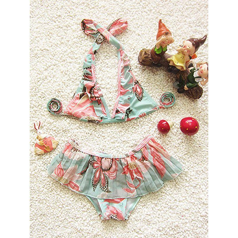 3-piece Beach Wear Swimming Bikini Set Top Shorts for Girls