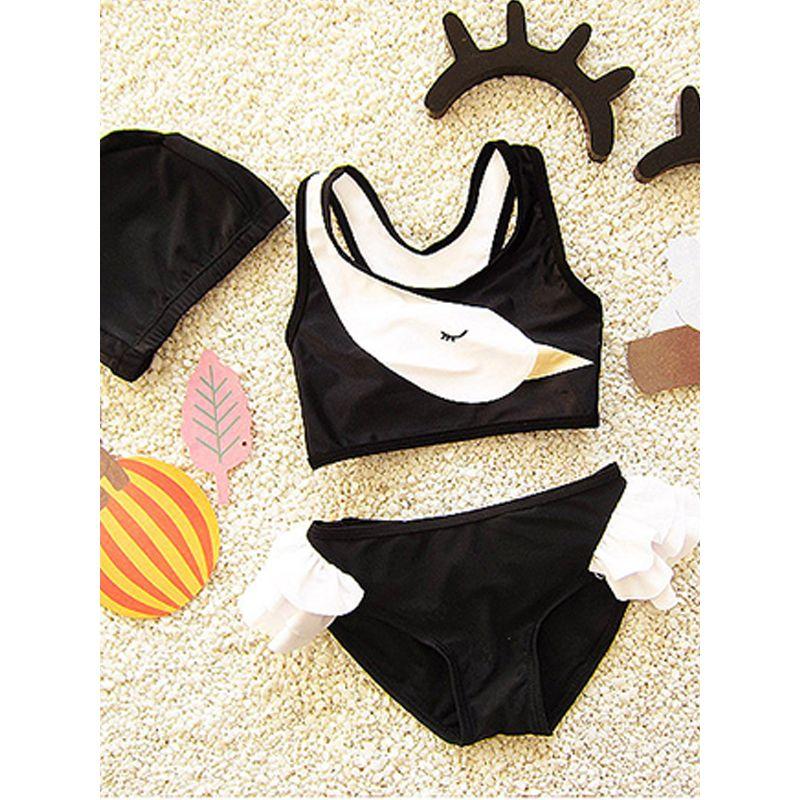 Cute Swan Print Bikini Set Swimming Hot Spring Swimwear Toddlers Girls