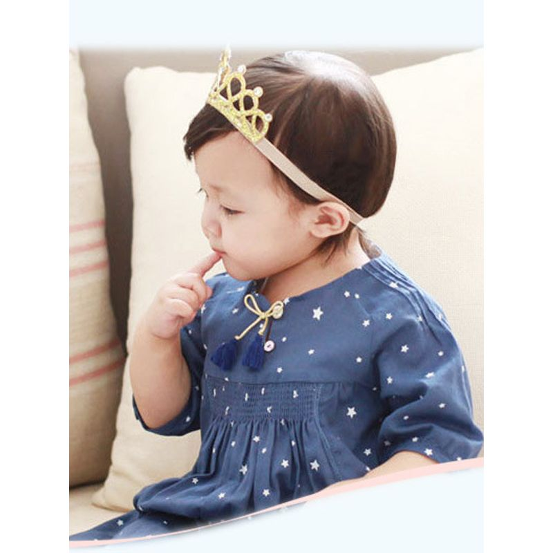Hollow Out 3D Star Rhinestones Crown Hairband For Babies Toddlers