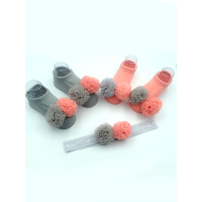 2-piece Headband Socks Baby Set Appliqued Hairband Ankle Socks