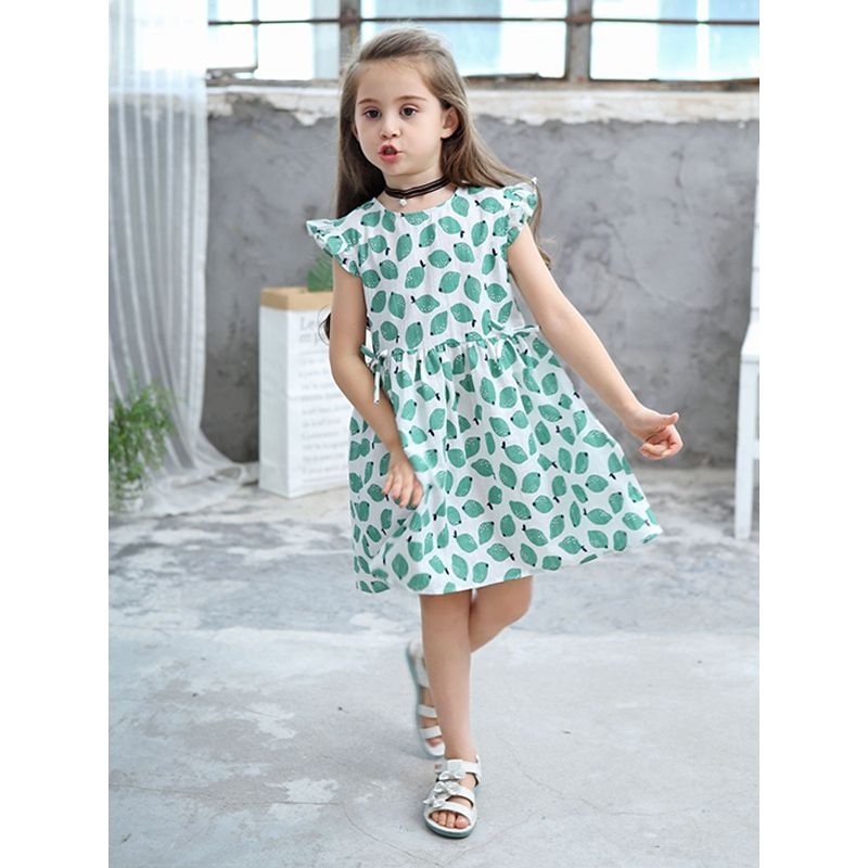 Cute Green Lemons Print Sleeveless Dress Jacquard Cotton for Toddlers Girls