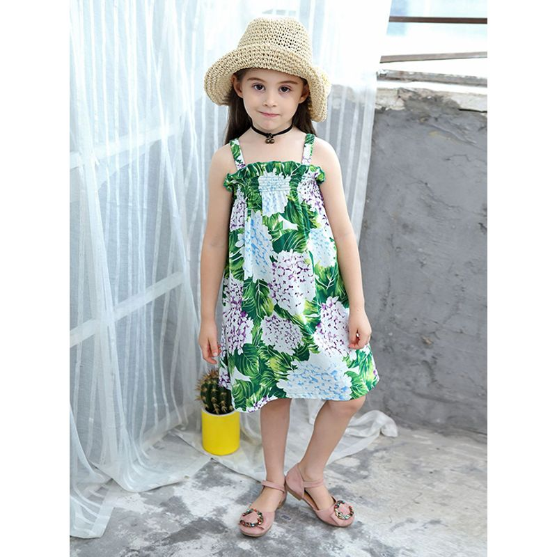 Big Flowers Print Sleeveless Strapped Tank Dress Cotton for Toddlers Girls