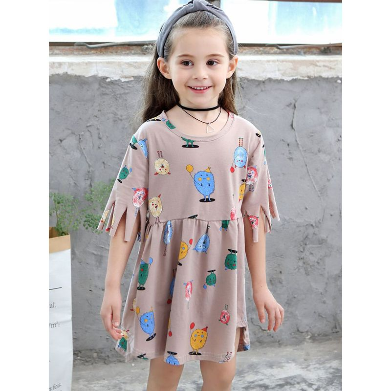 Cute Cartoon Figures Flounced Dress Short-sleeve for Toddlers Girls