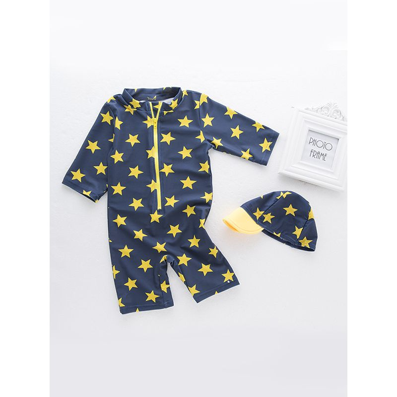 2-piece Cool Stars Print Swimwear Set Hot Spring Swimming Jumpsuit Hat for Toddlers Boys
