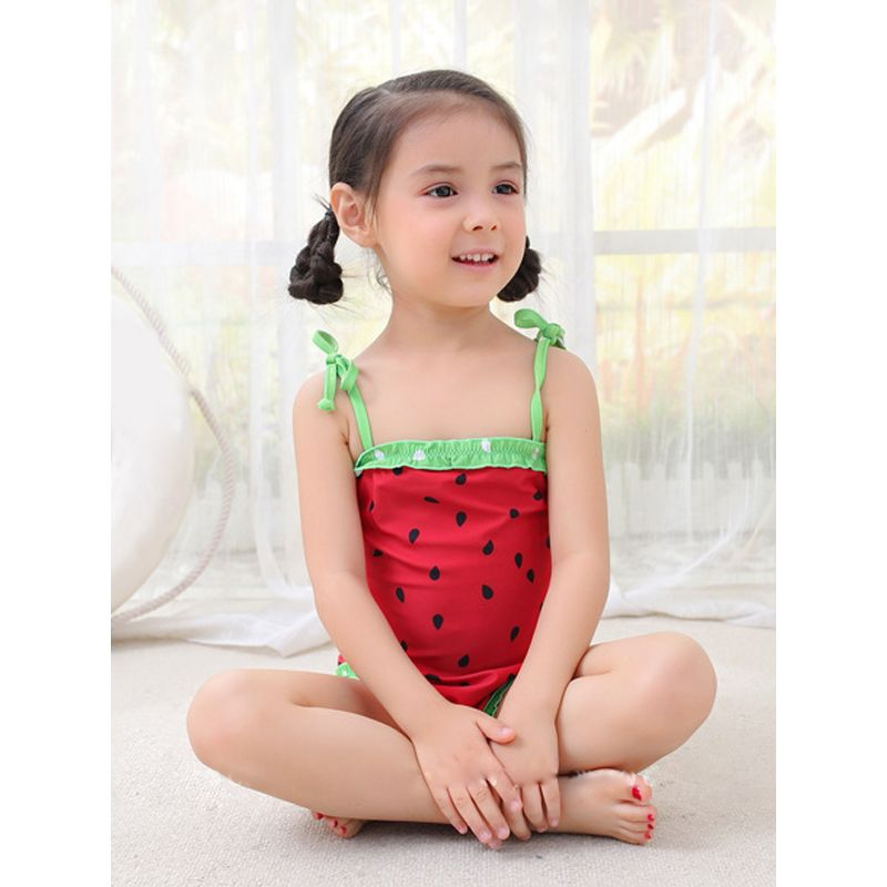 5dd2a5930d 2-piece Cute Watermelon Swimwear Set Hot Spring Strapped Swimming Top Hat for  Toddlers Girls