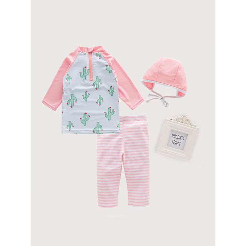 3-piece Pink Stripes Cactuses Swimwear Set Hot Spring Swimming Beach Lon-sleeve Top Cap Pants for Toddlers Girls