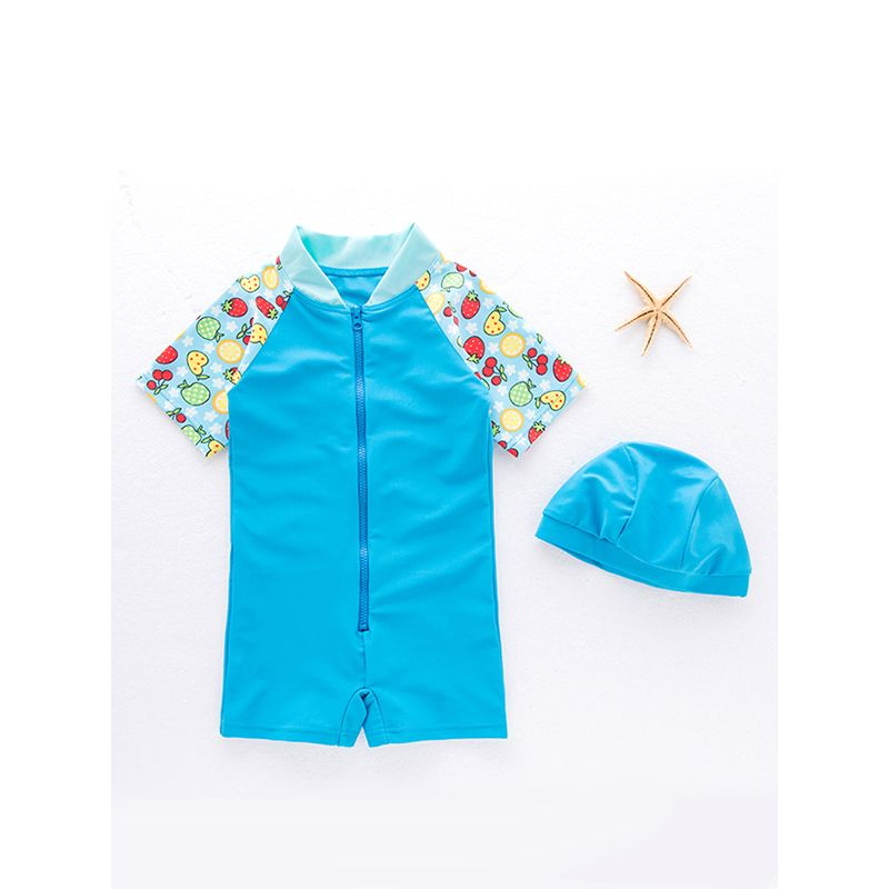 Paneled 2-piece Swimwear Quick-dry Hot Spring Jumpsuit Cap Set Zip-up for Toddlers Boys Girls