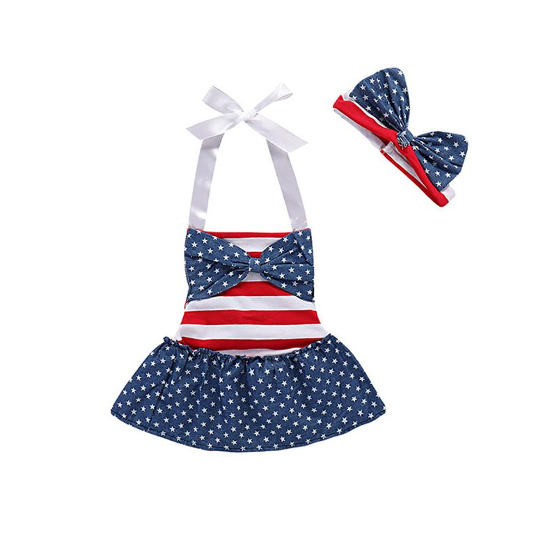 2-piece 4th of July Holiday Wear Dress Set Stars and Stripes  Bow-knot Romper Dress Headband for Baby Toddler Girls