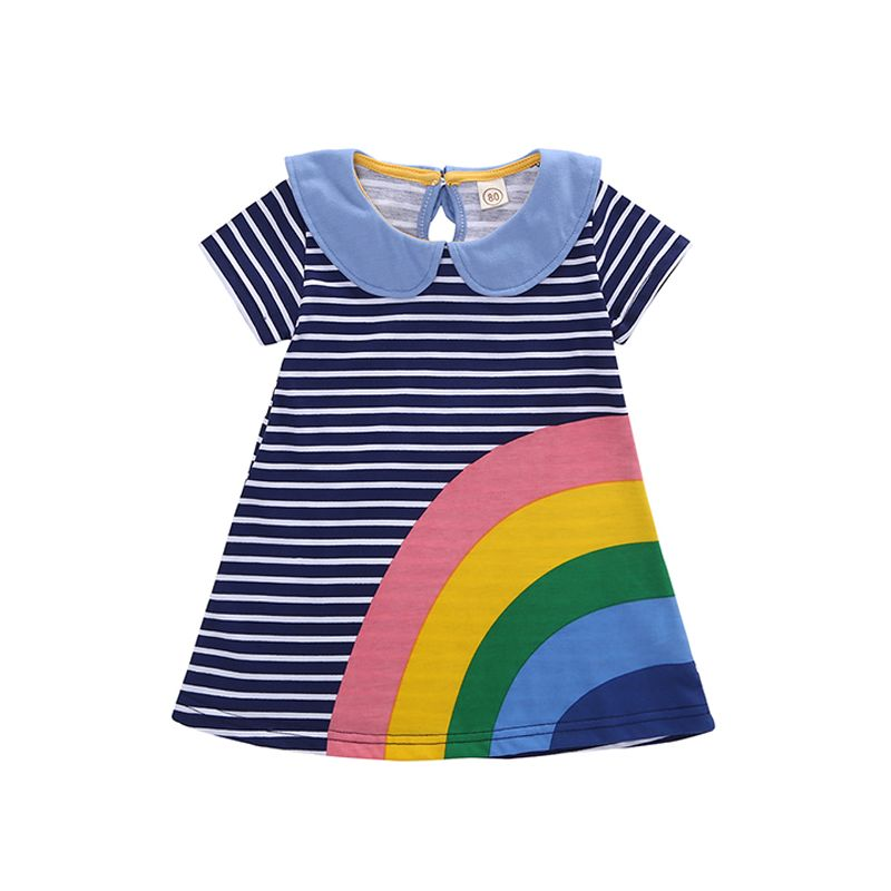 Rainbow Stipes A-line Baby Dress Short Sleeves Peter Pan Collar Dress For Baby Girls
