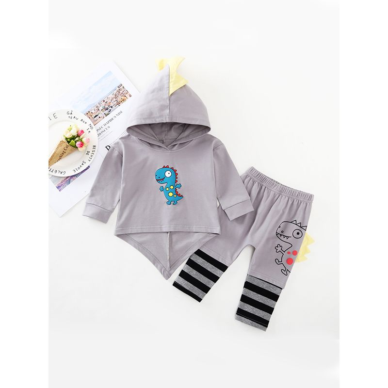 Dinosaur Pattern Baby Set Long Sleeves Hoodie Top Stripes Printed Pants For Baby Boys