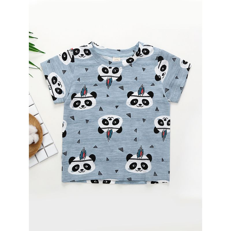 Cute Panda Print Breathable Thin Tee Short-sleeve T-shirt Top for Baby Toddler Girls Boys