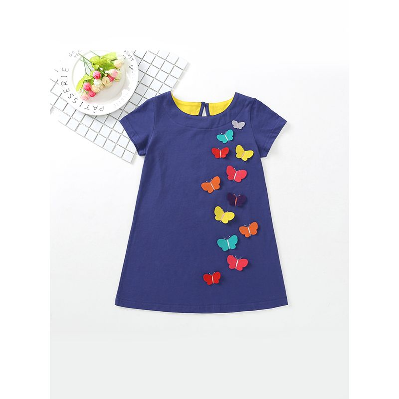 Colorful Butterflies Appliqued Dress Party Wear Short-sleeve for Baby Toddler Girls