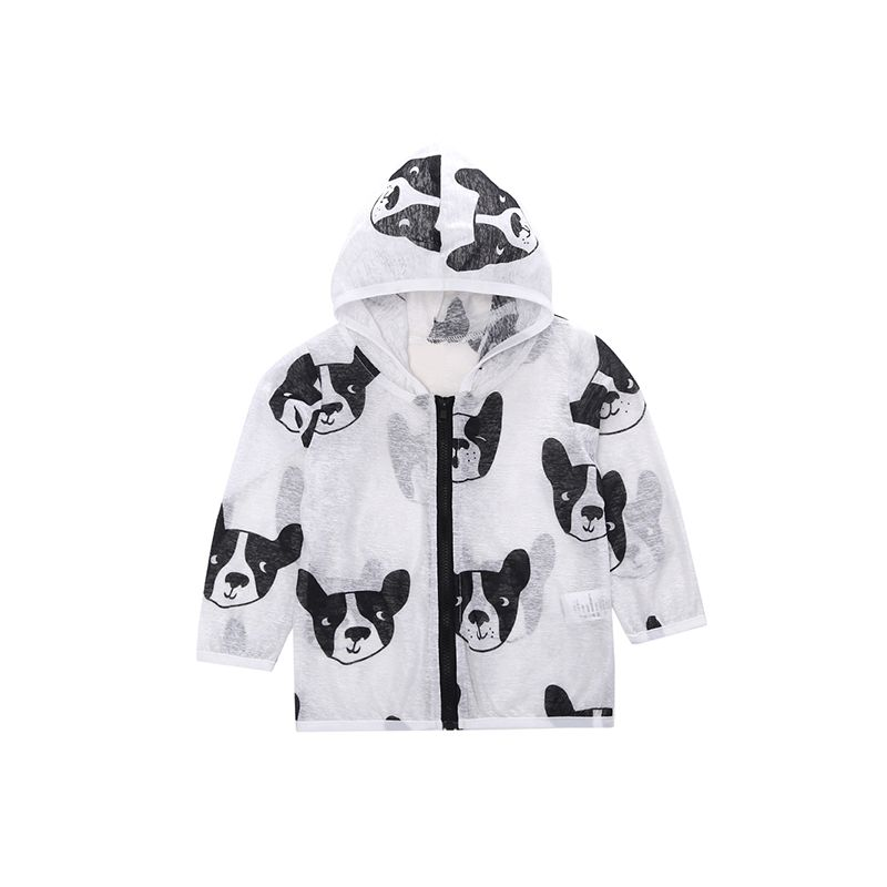 Dogs Head Printed Baby Hoodie Coat Breathable Zippered Sun-resistant Toddler Jacket