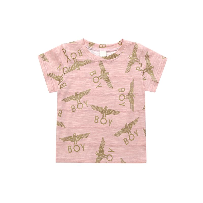 BOY Letters Eagle Printed Toddlers T Shirt Cotton Short Sleeves Sweat Absorbing Tees