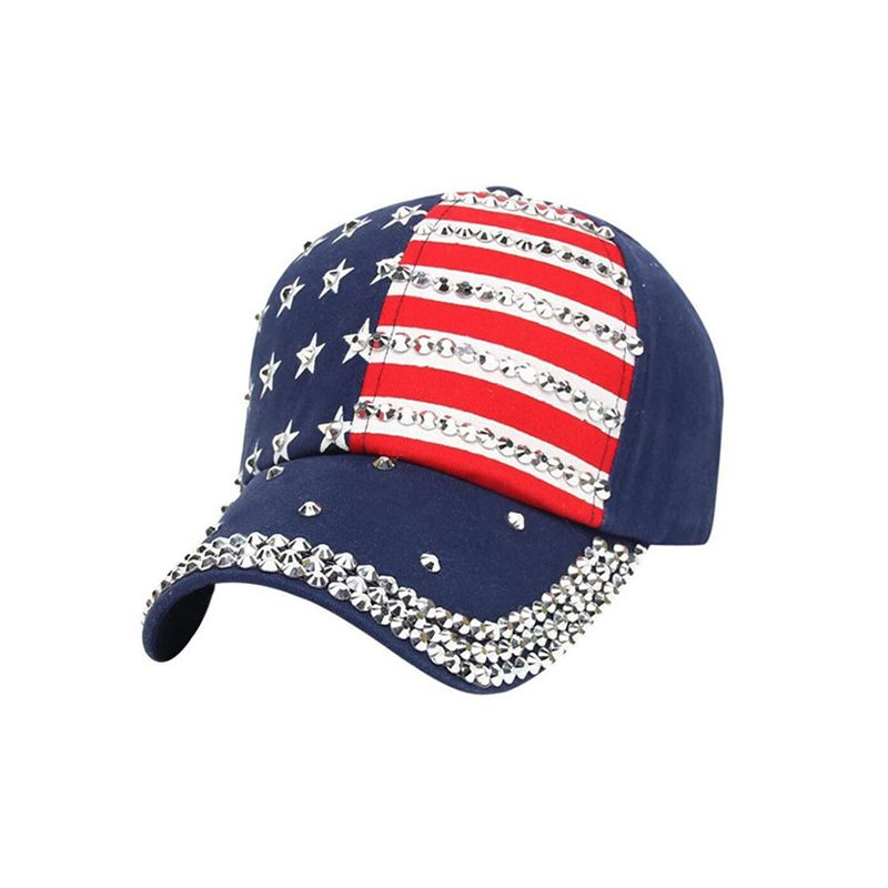 4th of July US Flag Pattern Spot Drill Baseball Hat Retro Vintage Diamante Peaked Cap