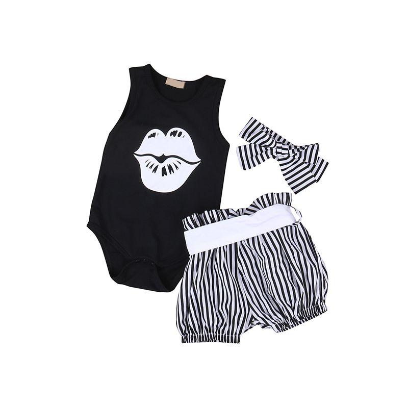 3-piece Big Kiss Stripes Romper Set Bodysuit Shorts Headband for Baby Girls