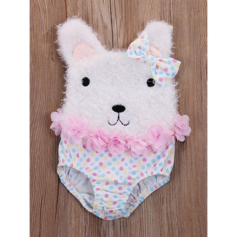 Cute Bear Pattern Flowers Strapped Romper Cotton Bodysuit for Baby Girls