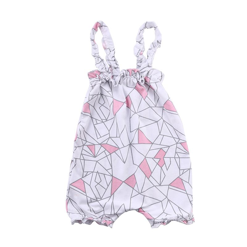 Geometric Figure Printed Strapped Romper Cotton Jumpsuit for Baby Girls