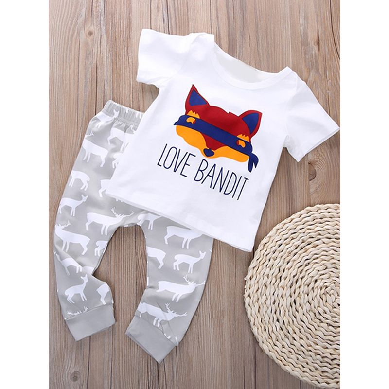 2-piece Cool Fox Print Tee Pants Set Short-sleeve Top T-shirt Trousers for Baby Boys