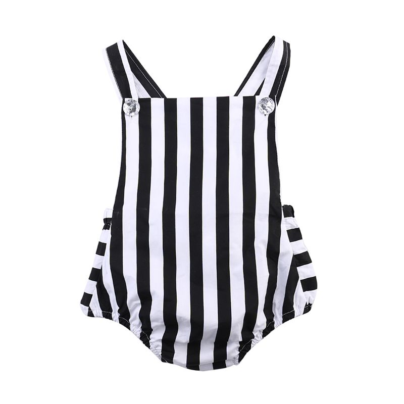 Black Stripes Cotton Romper Strapped Backless for Baby Girls