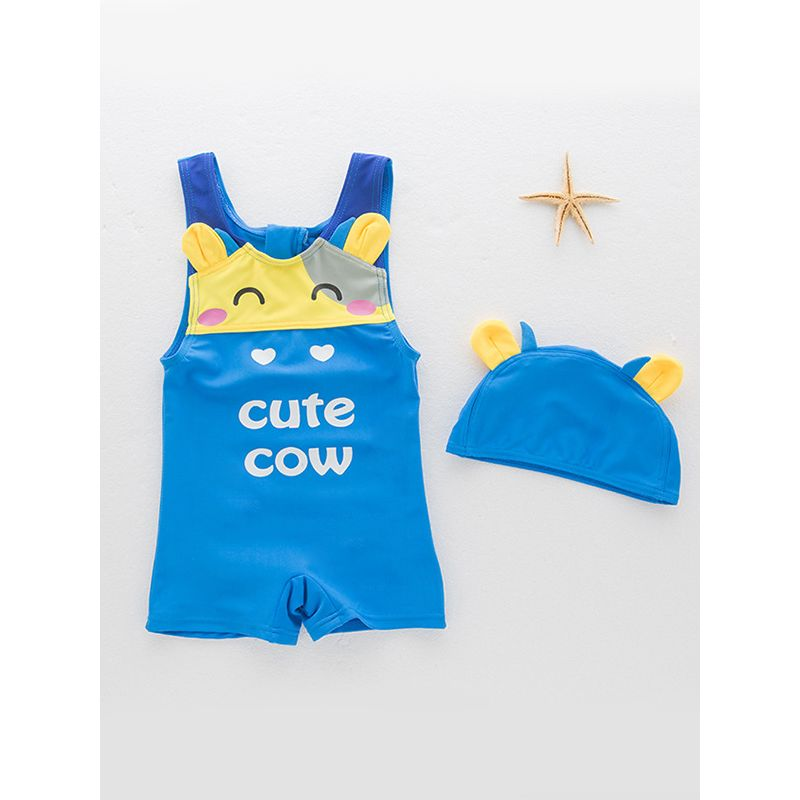 2-piece Cute Cow Pattern Sleeveless Swimwear Cap Set Hot Spring Pool Swimming for Toddlers  Boys