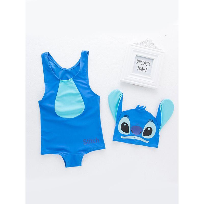 2-piece Cute Blue Cartoon Figure Swimwear Set Top Cap Swimming Hot Spring Pool Beach for Toddlers Boys