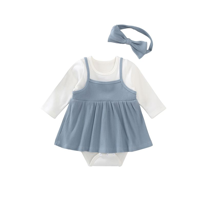 2-piece Headband Romper Baby Set Suspender Dress Fause Two Pieces Romper Bodysuit For Baby Girls