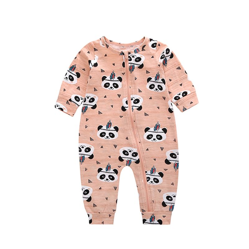 Panda Head Printed Zipper Baby Romper Thin Breathable Cotton Jumpsuit