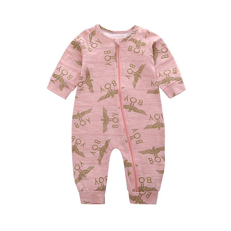 BOY Letters Print Eagle Zipper Baby Romper Long Sleeves Cotton Jumpsuit