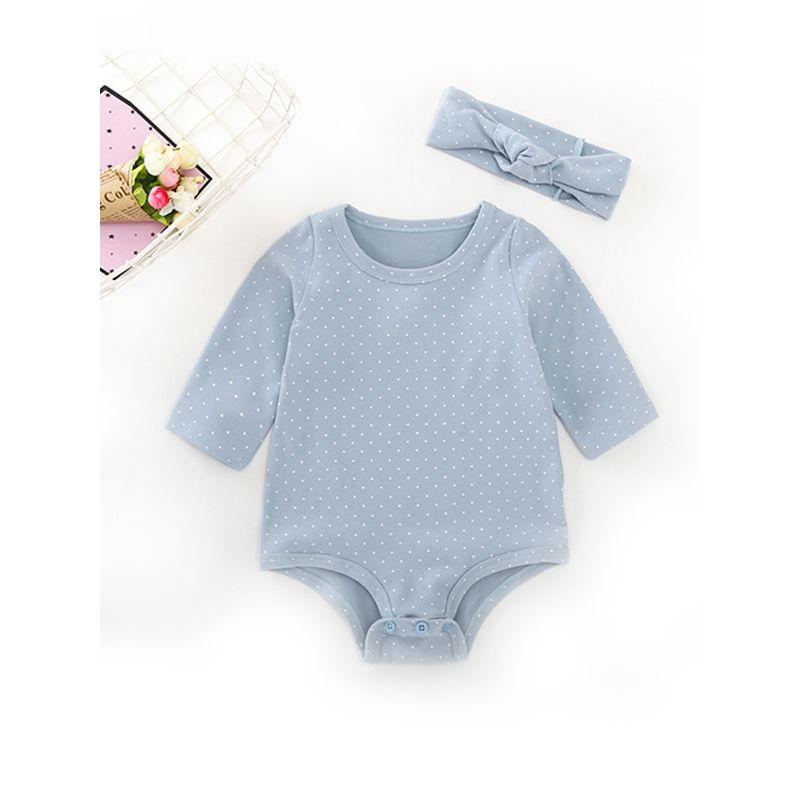 2-piece  Polka Dots Headband Romper Set Angel Wings Printed Bodysuit For Baby Girls