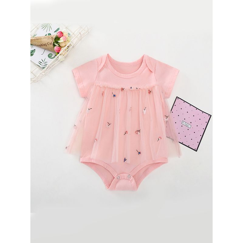 Pink Embroidery Tulle Baby Girls Romper Short Sleeves Cotton Bodysuit