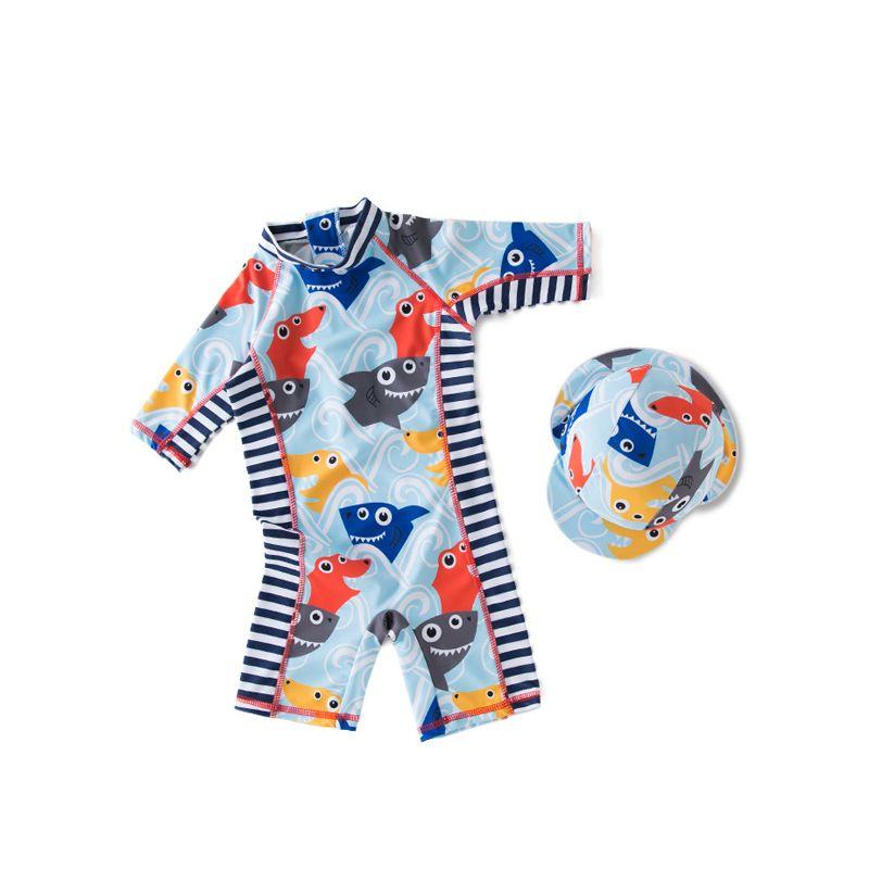 2-piece Sharks Printed Hat Onesies Kids Swimwear Set Bathing Suit For Toddler Boys