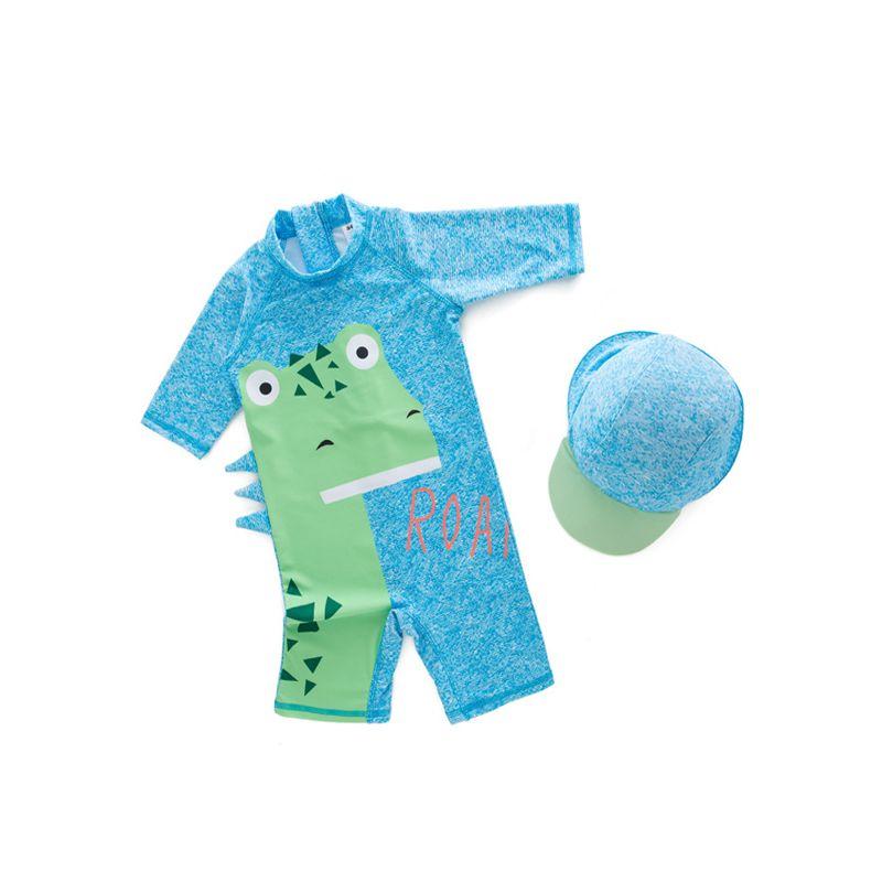 2-piece Dinosaur Print Hat Onesies Kids Swimwear Set Blue Bathing Suit For Toddler Boys