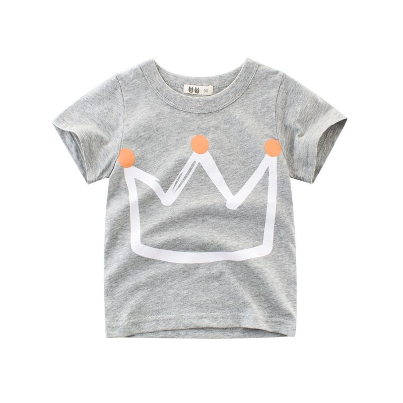 King Crown Print Cotton Tee T-shirt Top Short-sleeve for Toddlers Big Boys