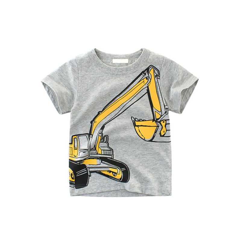 Cool Excavator Print Cotton Tee T-shirt Top Short-sleeve for Toddlers Big Boys