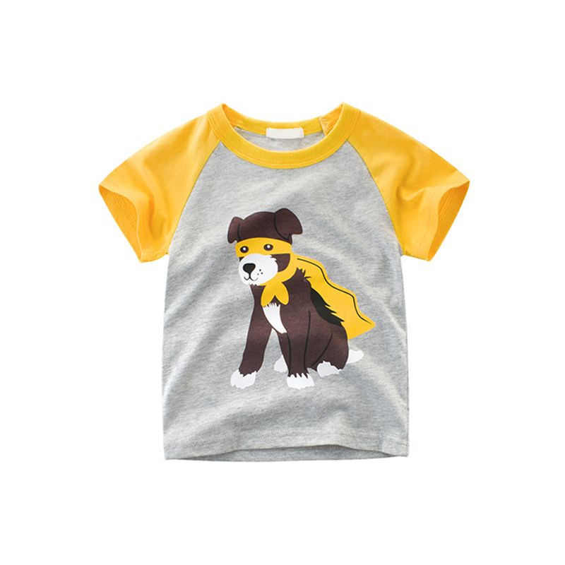 Super Dog Cartoon Print Cotton Tee Short-sleeve T-shirt Top for Toddlers Boys