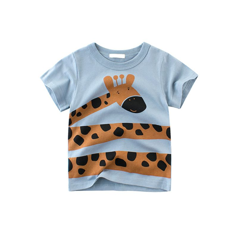 Giraffe Monkey Lion Tiger Print Cotton Tee Short-sleeve T-shirt Top for Toddlers Boys